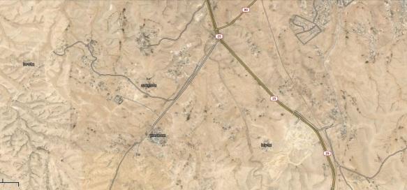 מקבצי התיישבות בדואית מדרום-מערב לעיירה ערערה. שימו לב לפיזור העצום בשטח, ולבחירה לסמן חלק מהם ככפרים.