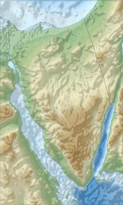 חצי האי סיני - מפה גיאוגרפית. להגדלה, לחצו על התמונה.